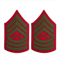 Vanguard MARINE CORPS CHEVRON: MASTER SERGEANT GREEN EMBROIDERED ON RED, FEMALE