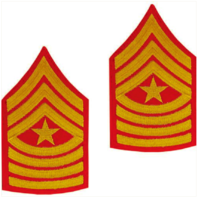 Vanguard MARINE CORPS CHEVRON: SERGEANT MAJOR - GOLD EMBROIDERED ON RED, MALE