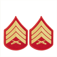 Vanguard MARINE CORPS CHEVRON: SERGEANT - GOLD EMBROIDERED ON RED, FEMALE