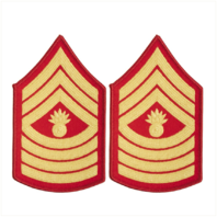 Vanguard MARINE CORPS CHEVRON: MASTER GUNNERY SERGEANT - GOLD ON RED FOR FEMALE
