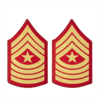 Vanguard MARINE CORPS CHEVRON: SERGEANT MAJOR - GOLD EMBROIDERED ON RED, FEMALE