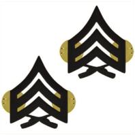 Vanguard MARINE CORPS CHEVRON: SERGEANT - BLACK METAL, SOLID BRASS