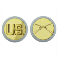 Vanguard ARMY ENLISTED BRANCH OF SERVICE COLLAR DEVICE: U.S. AND INFANTRY - BLUE DISC