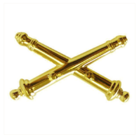 Vanguard ARMY OFFICER BRANCH OF SERVICE COLLAR DEVICE: ARTILLERY - 22K GOLD PLATED