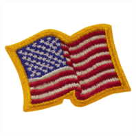 Vanguard FLAG PATCH: UNITED STATES OF AMERICA 2 BY 2-1/2 INCH WITH GOLD WAVY EDGE