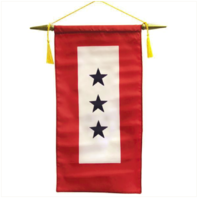 "Vanguard FLAG: MADE IN USA - SERVICE BANNER WITH THREE BLUE STARS 8"" x 15"""