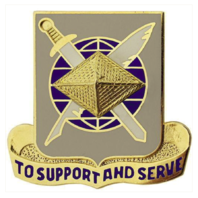 Vanguard ARMY CORPS CREST: FINANCE - TO SUPPORT AND SERVE