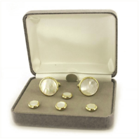 Vanguard NAVY CUFF LINKS AND SHIRT STUDS: GENUINE MOTHER OF PEARL
