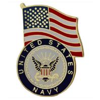 Vanguard NAVY LAPEL PIN: UNITED STATES FLAG WITH NAVY EMBLEM