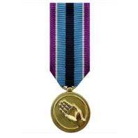 Vanguard MINIATURE MEDAL: HUMANITARIAN SERVICE - 24K GOLD PLATED