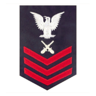 Vanguard COAST GUARD E6 RATING BADGE: GUNNERS MATE - BLUE