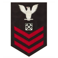 Vanguard NAVY E6 MALE RATING BADGE: BOATSWAIN'S MATE RED CHEVRONS ON BLUE SERGE