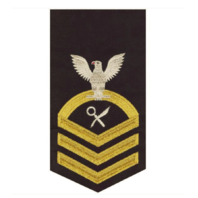 Vanguard NAVY E7 MALE RATING BADGE: INTELLIGENCE SPECIALIST - SEAWORTHY GOLD ON BLUE