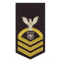 Vanguard NAVY E7 MALE RATING BADGE: MASTER AT ARMS - SEAWORTHY GOLD ON BLUE
