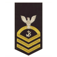 Vanguard NAVY E7 MALE RATING BADGE: NAVY COUNSELOR - SEAWORTHY GOLD ON BLUE