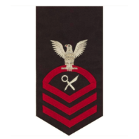 Vanguard NAVY E7 MALE RATING BADGE INTELLIGENCE SPECIALIST SEAWORTHY RED ON BLUE