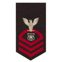Vanguard NAVY E7 MALE RATING BADGE: MASTER AT ARMS - SEAWORTHY RED ON BLUE