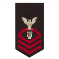 Vanguard NAVY E7 MALE RATING BADGE: MUSICIAN - SEAWORTHY RED ON BLUE