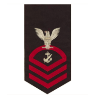 Vanguard NAVY E7 MALE RATING BADGE: NAVY COUNSELOR - SEAWORTHY RED ON BLUE