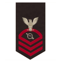 Vanguard NAVY E7 MALE RATING BADGE: OPERATIONS SPECIALIST SEAWORTHY RED ON BLUE