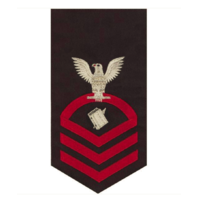 Vanguard NAVY E7 MALE RATING BADGE: PERSONNELMAN - SEAWORTHY RED ON BLUE