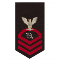 Vanguard NAVY E7 MALE RATING BADGE INFO TECH SPECIALIST SEAWORTHY RED ON BLUE
