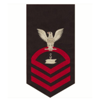 Vanguard NAVY E7 MALE RATING BADGE: STEELWORKER - SEAWORTHY RED ON BLUE