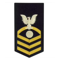 Vanguard NAVY E7 MALE RATING BADGE: ELECTRICIAN'S MATE - VANCHIEF ON BLUE