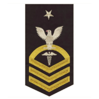 Vanguard NAVY E8 MALE RATING BADGE: HOSPITAL CORPSMAN - SEAWORTHY GOLD ON BLUE
