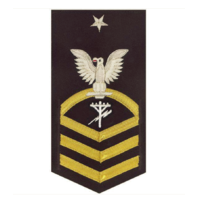 Vanguard NAVY E8 MALE RATING BADGE: CONSTRUCTION ELECTRICIAN - VANCHIEF ON BLUE