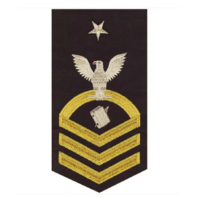Vanguard NAVY E8 MALE RATING BADGE: PERSONNELMAN - VANCHIEF ON BLUE