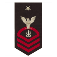 Vanguard NAVY E8 MALE RATING BADGE: ELECTRONICS WARFARE TECHNICIAN - SEAWORTHY RED ON BLUE