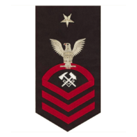 Vanguard NAVY E8 MALE RATING BADGE: HULL MAINTENANCE TECHNICIAN - SEAWORTHY RED ON BLUE