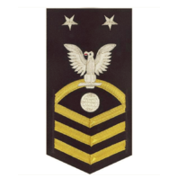 Vanguard NAVY E9 MALE RATING BADGE: ELECTRICIAN'S MATE - VANCHIEF ON BLUE