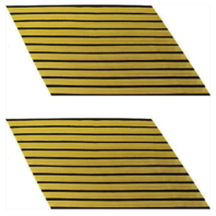 Vanguard ARMY SERVICE STRIPE: GOLD EMBROIDERED ON BLUE - MALE, SET OF 11