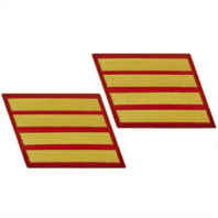 Vanguard MARINE CORPS SERVICE STRIPE: MALE - GOLD EMBROIDERED ON RED, SET OF 4