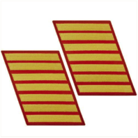 Vanguard MARINE CORPS SERVICE STRIPE: MALE - GOLD EMBROIDERED ON RED, SET OF 7