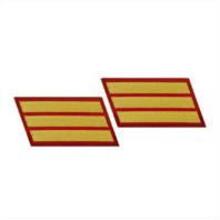 Vanguard MARINE CORPS SERVICE STRIPE: FEMALE - GOLD ON RED, SET OF 3