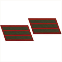 Vanguard MARINE CORPS SERVICE STRIPE: MALE - GREEN EMBROIDERED ON RED, SET OF 3
