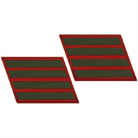 Vanguard MARINE CORPS SERVICE STRIPE: MALE - GREEN EMBROIDERED ON RED, SET OF 4