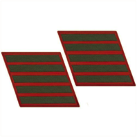 Vanguard MARINE CORPS SERVICE STRIPE: MALE - GREEN EMBROIDERED ON RED, SET OF 5