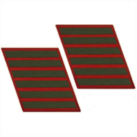 Vanguard MARINE CORPS SERVICE STRIPE: MALE - GREEN EMBROIDERED ON RED, SET OF 6