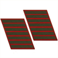 Vanguard MARINE CORPS SERVICE STRIPE: MALE - GREEN EMBROIDERED ON RED, SET OF 7