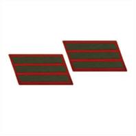 Vanguard MARINE CORPS SERVICE STRIPE: FEMALE - GREEN ON RED, SET OF 3