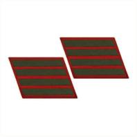 Vanguard MARINE CORPS SERVICE STRIPE: FEMALE - GREEN ON RED, SET OF 4