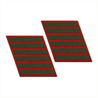 Vanguard MARINE CORPS SERVICE STRIPE: FEMALE - GREEN ON RED, SET OF 6