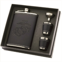Vanguard MARINE CORPS BLACK DEBOSSED LEATHER FLASK SET WITH TWO SHOT GLASSES