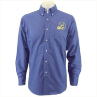 Vanguard NAVY LEAGUE MEN'S FRENCH BLUE LONG SLEEVE OXFORD SHIRT W/GOLD LOGO - M