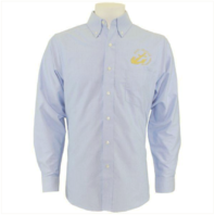 Vanguard NAVY LEAGUE MEN'S LIGHT BLUE LONG SLEEVE OXFORD SHIRT W/GOLD LOGO - 4XL