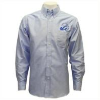 Vanguard NAVY LEAGUE MEN'S LIGHT BLUE LONG SLEEVE OXFORD SHIRT W/BLUE LOGO - L